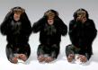 Three Monkeys Deliberately See Speak See No Evil