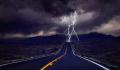 Lightning on road