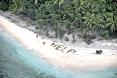 HELP sign on beach Fanadik Island