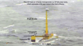 Waves crashing over a 1:8 scale model of the VolturnUS floating wind turbine