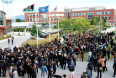 undreds gather at UVM on Monday to show support for the Black Lives Matter movement